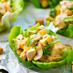 Mango Chipotle Chicken Salad Lettuce Wraps