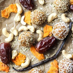 Mango Vanilla Bean Protein Energy Balls [ Paleo, Whole30 ]