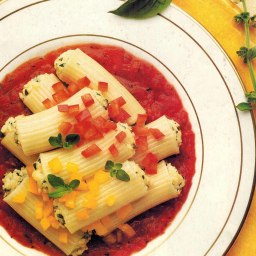 Manicotti Stuffed with Smoked Chicken and Ricotta.