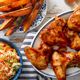 Maple & Barbecue-Glazed Chicken Wings with Sweet Potato Wedges & Co