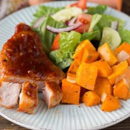 Maple Glazed Pork Chops with Sweet Potatoes