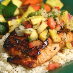 Maple-glazed Salmon with Pineapple Salsa