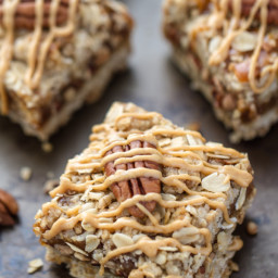 Maple Peanut Butter Pecan Oatmeal Bars