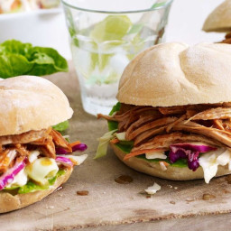 Maple pulled pork burgers with apple slaw