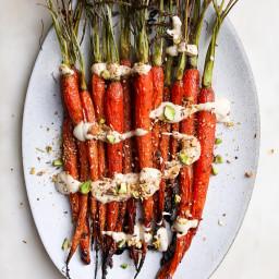 Maple Roasted Carrots with Tahini Yogurt and Pistachio Dukkah