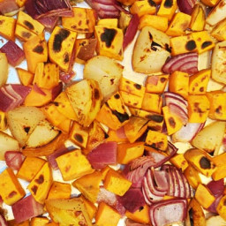 Maple-Roasted Sweet Potatoes, Pears and Red Onions