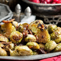 Maple Tamari Roasted Brussels Sprouts with Candied Bacon