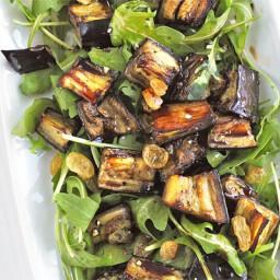 Marinated aubergine and rocket salad