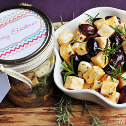 Marinated Cheese and Olives ~ An Easy Appetizer or Food Gift in a Jar