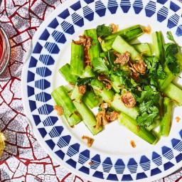 Marinated Cucumbers with Fried Shallots
