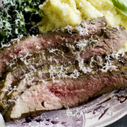 Marinated Flank Steak With Seared Spinach