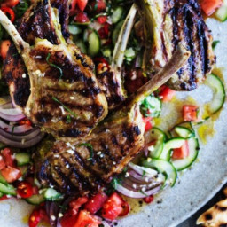 Marinated lamb cutlets with spicy mint and cucumber salsa
