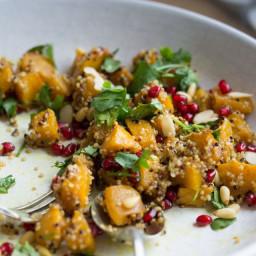 Marinated Pumpkin Quinoa and Pomegranate Autumn Salad