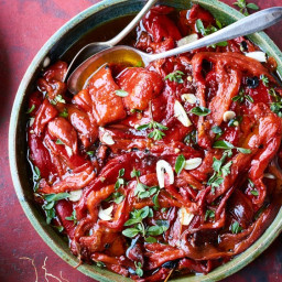 Marinated Red Peppers with Garlic and Marjoram