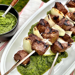 Marinated Wagyu Beef Kabobs with Charred Pepper Sauce
