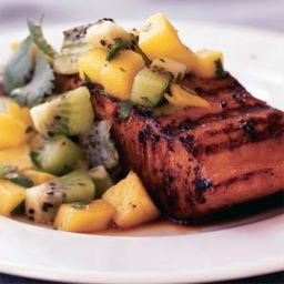 Marinated Salmon with Mango-Kiwi Relish