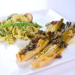 Mario Batali's Braised Leeks with Olive Vinaigrette