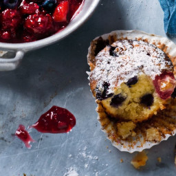 Marzipan and berry muffins