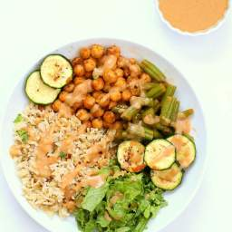 Masala Chickpea Bowl with Chana masala Spice Chickpea Dressing.