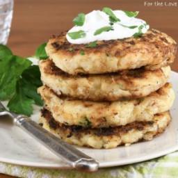 Mashed Potato Pancakes with Caramelized Onion and Gruyere