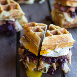 Turkey, Smashed Avocado, Cranberry, Brie & Mashed Potato Waffle Melts