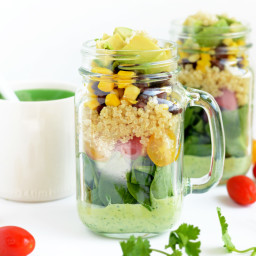 Mason Jar Tex Mex Quinoa and Tangy Cilantro Lime Creamy Dressing