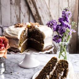 Matcha Green Tea Cake with Vanilla Honey Cream Cheese Frosting.