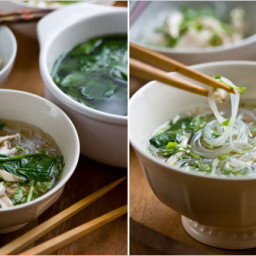Meal in a Bowl With Chicken, Rice Noodles and Spinach
