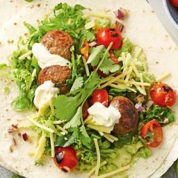 Meatball tacos with charred tomato salsa