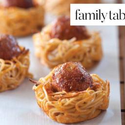 Meatballs in Spaghetti Nests