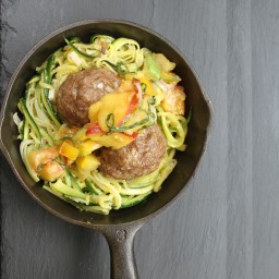 Meatballs with Zucchini Noodles and Peach Basil Salsa