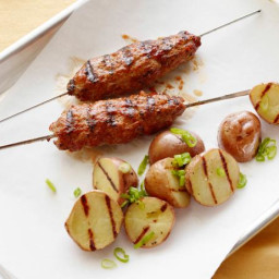 Meatloaf Kebabs with Grilled Potato Salad