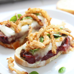 Meatloaf Sandwiches with Crispy Onions and Melted Mozzarella Cheese