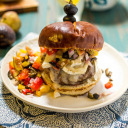 Mediterranean Brie Burger with Olive Fig Relish