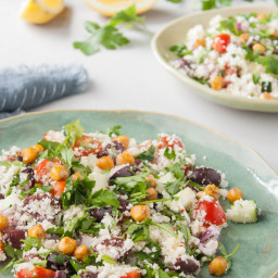 Mediterranean Cauliflower Couscous Salad with Roasted Chickpeas and Lemon D