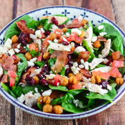 Mediterranean Chicken Bacon Spinach Salad