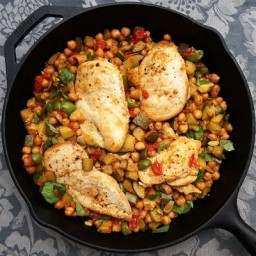 Mediterranean Chicken Skillet with Zucchini, Garbanzo Beans, Olives, and To