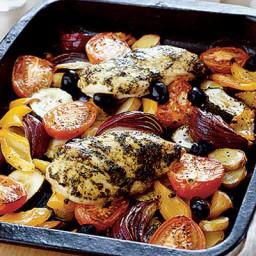 Mediterranean chicken with roasted vegetables