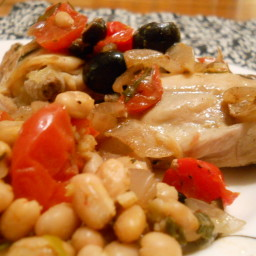 Mediterranean Chicken With Tomatoes, Olives and Herbed White Beans