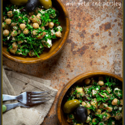 mediterranean eggplant and chickpea salad with feta and parsley