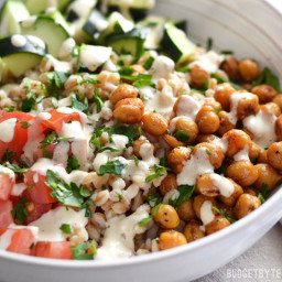 Mediterranean Farro Salad with Spiced Chickpeas