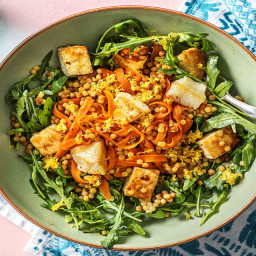 Mediterranean Grilling Cheese Bowls with Couscous, Carrots, and Harissa Cre