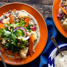 Mediterranean quinoa salad with ras el hanout–roasted vegetables