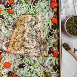 Mediterranean Sheet Pan Salmon with Zucchini Noodles