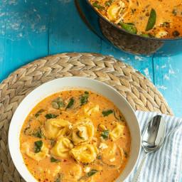 Mediterranean Tortellini Soup with Spinach, Feta, & Chicken. Ready in 3