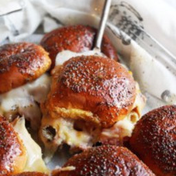 Meg's Baked Ham and Cheese Sliders with Magic Sauce