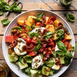 Melon Basil Burrata Salad with Crispy Prosciutto