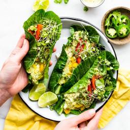 Mexican Avocado Egg Salad Collard Green Wraps {Paleo, Whole 30}