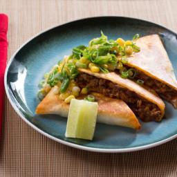 Mexican Beef Quesadillaswith Creamy Corn and Shishito Pepper Salsa