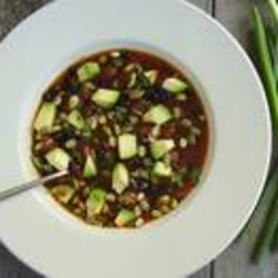 Mexican Black Bean Soup with Avocado